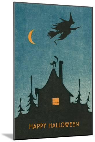 Happy Halloween, Witch Flying over House--Mounted Art Print