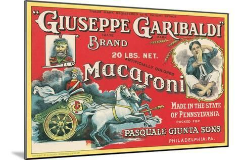 Giuseppe Garibaldi Macaroni Label--Mounted Art Print