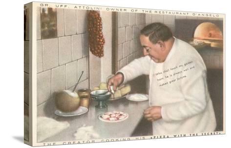Chef Attolini Making Pizza--Stretched Canvas Print