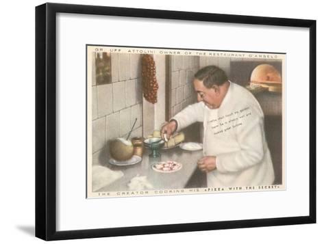 Chef Attolini Making Pizza--Framed Art Print