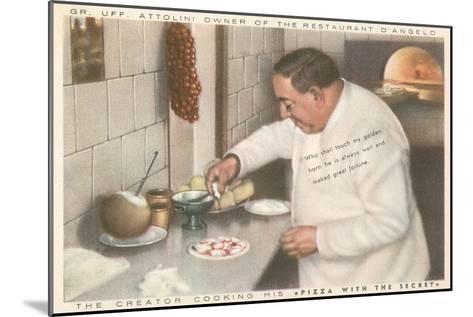 Chef Attolini Making Pizza--Mounted Art Print