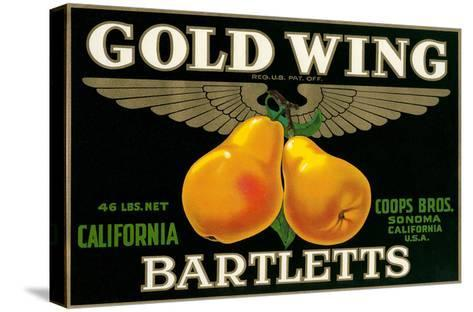 Packing Crate Label, Gold Wing Pears--Stretched Canvas Print