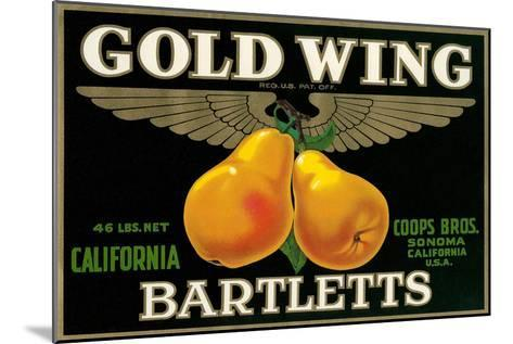 Packing Crate Label, Gold Wing Pears--Mounted Art Print