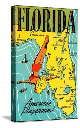 Florida, America's Playground--Stretched Canvas Print