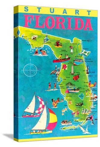Stuart, Florida, Map with Attractions--Stretched Canvas Print