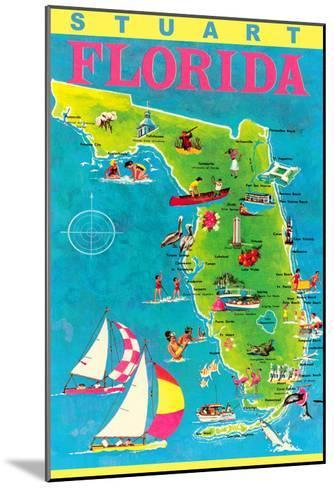 Stuart, Florida, Map with Attractions--Mounted Art Print