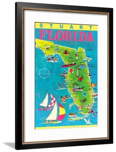 Stuart, Florida, Map with Attractions--Framed Art Print