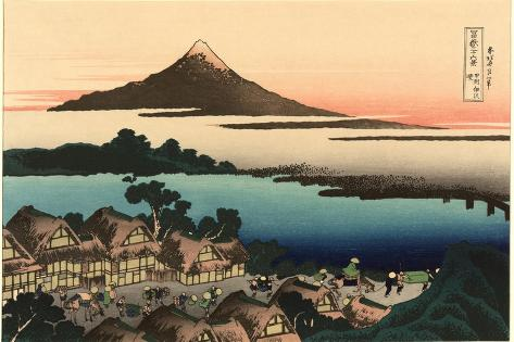 Mt. Fuji and Japanese Village--Stretched Canvas Print