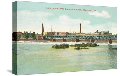 Rock River Dam, Rockford, Illinois--Stretched Canvas Print