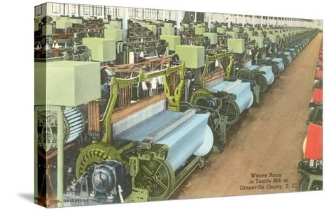 Weave Room in Textile Mill--Stretched Canvas Print
