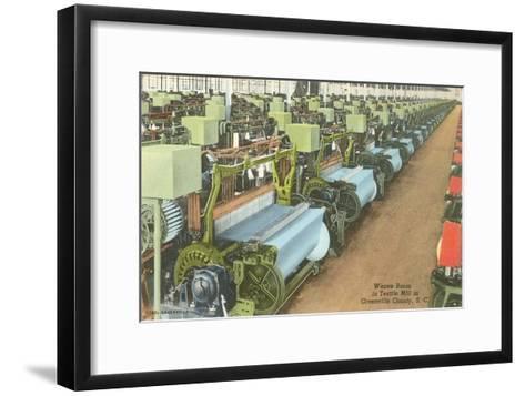 Weave Room in Textile Mill--Framed Art Print