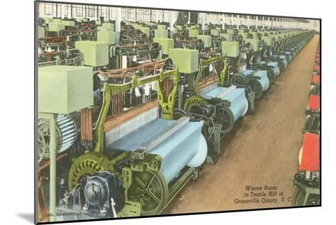 Weave Room in Textile Mill--Mounted Art Print