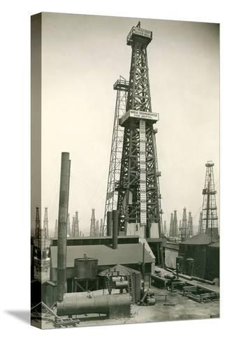 Derrick and Oil Field--Stretched Canvas Print