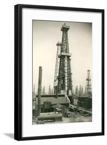 Derrick and Oil Field--Framed Art Print