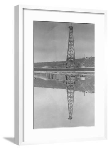 Oil Well Reflected in Pond--Framed Art Print