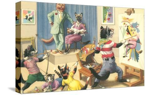 Art Class for Cats--Stretched Canvas Print
