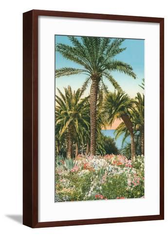 Palm Trees, Flowers and Agave--Framed Art Print