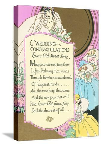 Old Fashioned Wedding Congratulations--Stretched Canvas Print