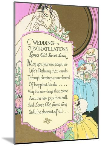 Old Fashioned Wedding Congratulations--Mounted Art Print