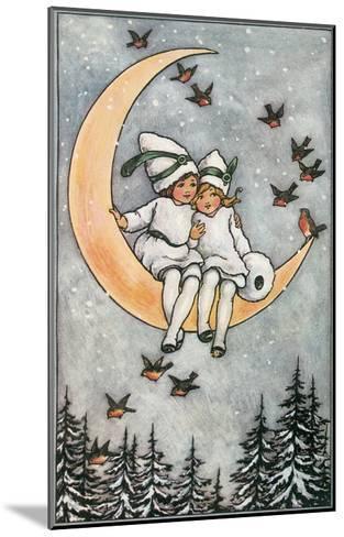 Winter, Children on Moon--Mounted Art Print