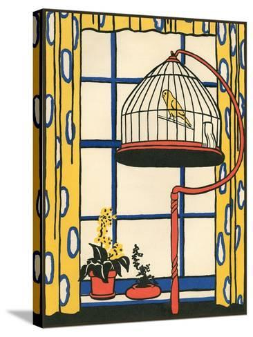 Canary in Cage--Stretched Canvas Print