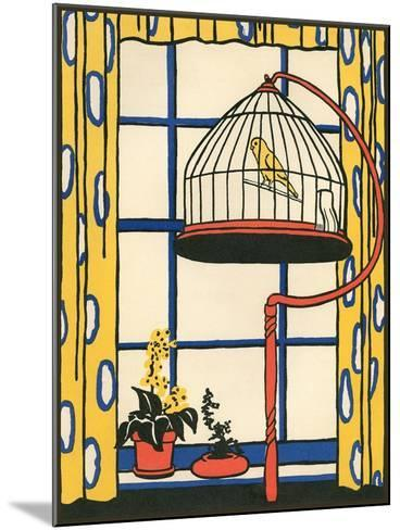 Canary in Cage--Mounted Art Print
