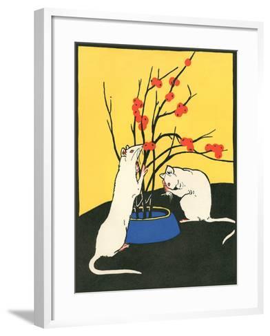 White Rats, Red Berries--Framed Art Print