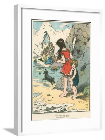 Children Watching Mermaids--Framed Art Print