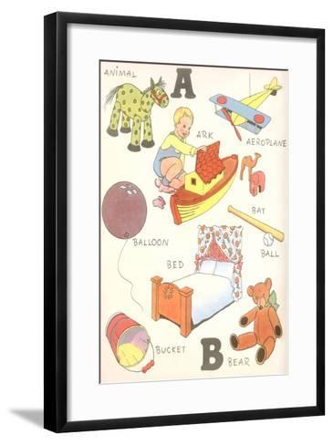 Learning the Alphabet, A and B--Framed Art Print