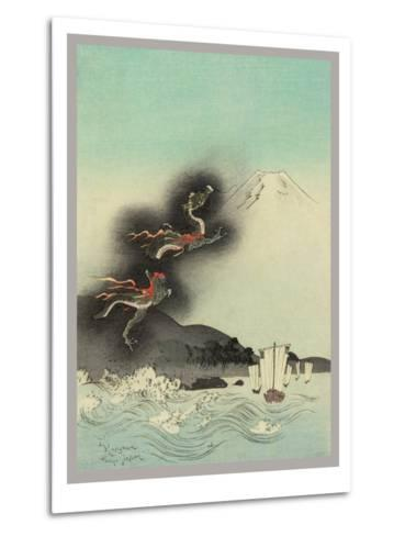 Traditional Japanese Woodcut with Volcano Dragons--Metal Print