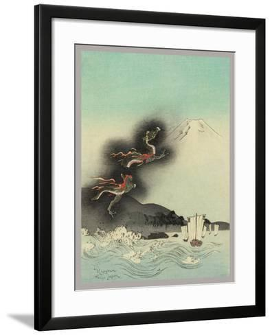 Traditional Japanese Woodcut with Volcano Dragons--Framed Art Print