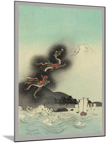 Traditional Japanese Woodcut with Volcano Dragons--Mounted Art Print