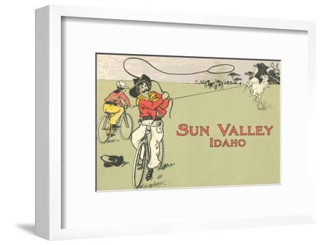 Bicycle Roping, Sun Valley, Idaho--Framed Art Print