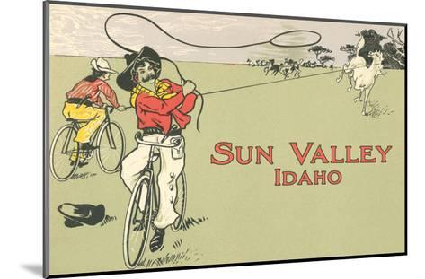Bicycle Roping, Sun Valley, Idaho--Mounted Art Print