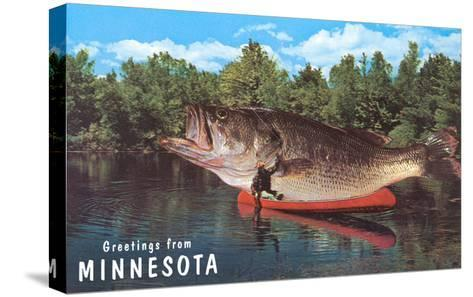 Greetings from Minnesota, Giant Fish--Stretched Canvas Print