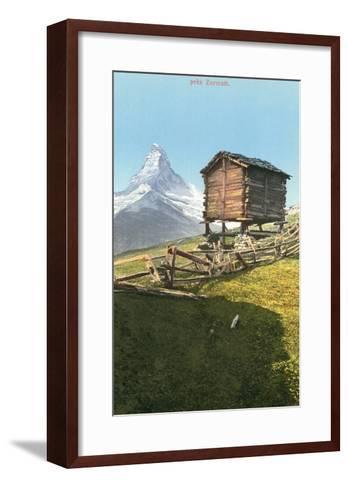 Hut Near the Matterhorn, Swiss Alps--Framed Art Print