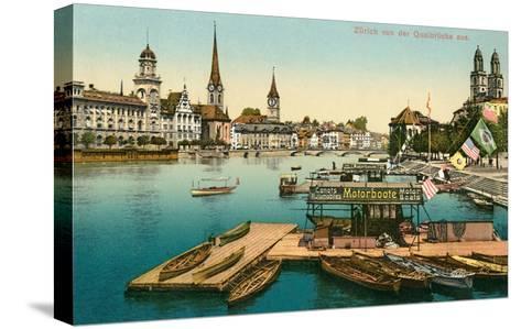 Qualbrucke in Zurich, Switzerland--Stretched Canvas Print