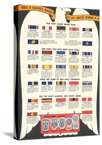 US Army, Navy, Marines and Coast Guard Service Ribbons--Stretched Canvas Print