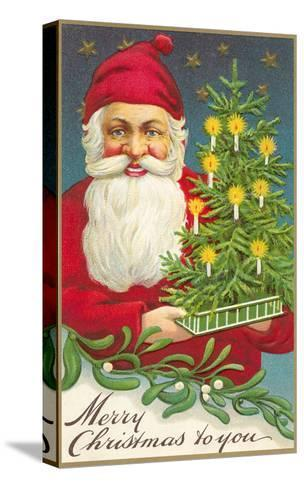 Merry Christmas, Santa Claus and Tree--Stretched Canvas Print