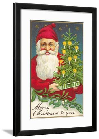 Merry Christmas, Santa Claus and Tree--Framed Art Print