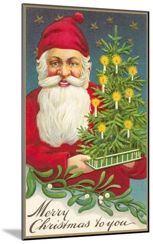 Merry Christmas, Santa Claus and Tree--Mounted Art Print