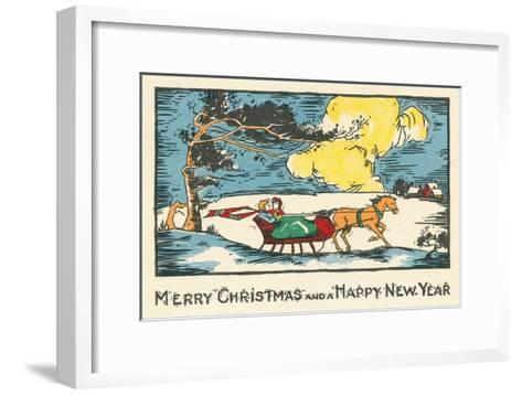 Merry Christmas, Horse-Drawn Sleigh--Framed Art Print