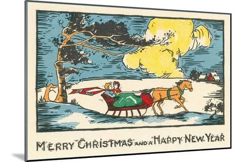 Merry Christmas, Horse-Drawn Sleigh--Mounted Art Print