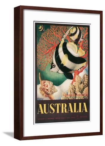 Australia Travel Poster, Great Barrier Reef--Framed Art Print