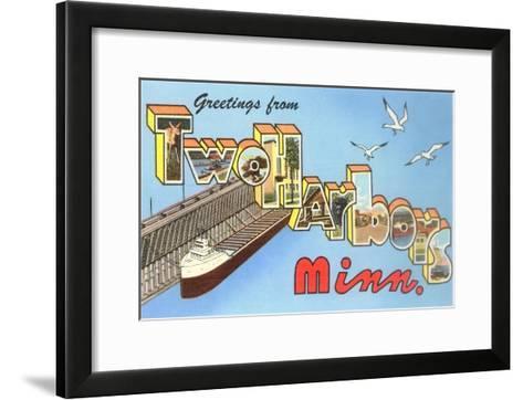 Greetings from Two Harbors, Minnesota--Framed Art Print