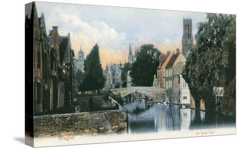 Green Quay, Bruges, Belgium--Stretched Canvas Print
