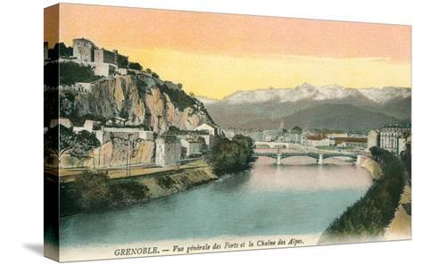 Grenoble, France, with View of Alps--Stretched Canvas Print