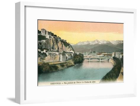 Grenoble, France, with View of Alps--Framed Art Print