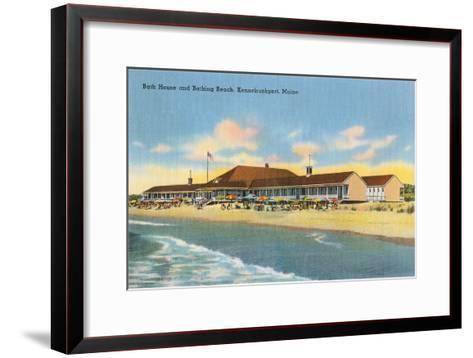 Beach and Bath House, Kennebunkport, Maine--Framed Art Print