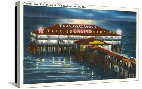 Pier at Night, Old Orchard Beach, Maine--Stretched Canvas Print